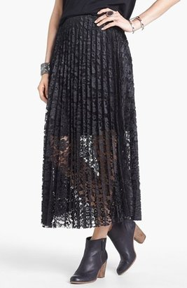 Free People Knife Pleat Lace Maxi Skirt