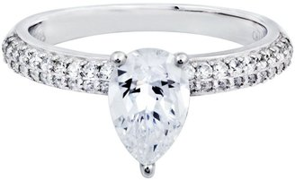 Diamonique Pear Shaped Solitaire Ring, PlatinumClad