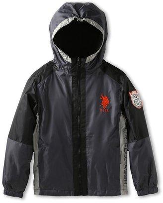 U.S. Polo Assn. Kids - Mini Ripstop Jacket Reverses To Polar Fleece Shell with Mini Ripstop Trim (Big Kids) (Charcoal/Black) - Apparel