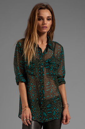 Equipment Distressed Hyde Printed Signature Blouse