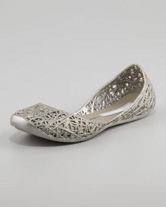 Melissa Shoes Melissa + Campana Papel III Glitter Jelly Flats, Rainbow Silver