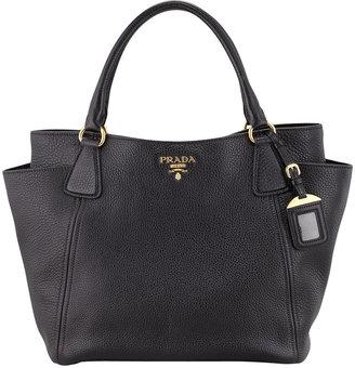 Prada Daino Side-Pocket Tote Bag, Black (Nero)