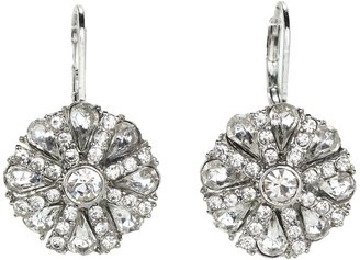 Betsey Johnson Coral Glam Crystal Gem Drop Earrings (Crystal) - Jewelry