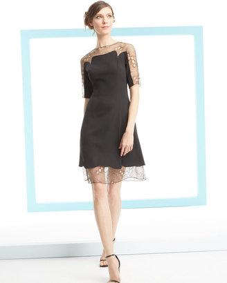 Lela Rose A-Line Lace Tulle Combo Dress