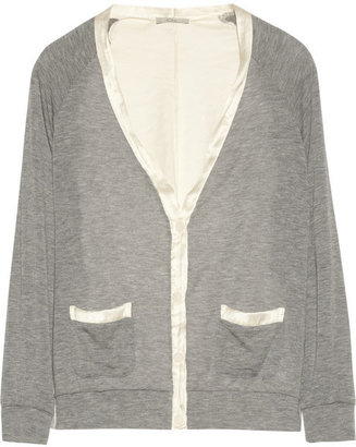 Clu Draped jersey and charmeuse cardigan