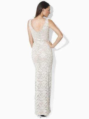 Ralph Lauren Sleeveless Lace Gown