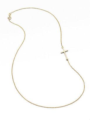 Mizuki 14K Yellow Gold Side Cross Necklace
