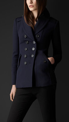Burberry Shawl Collar Fitted Pea Coat