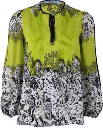 Blumarine Long Sleeve Tie Front Floral Blouse