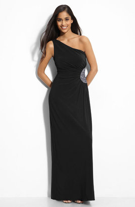JS Boutique Beaded One Shoulder Jersey Gown