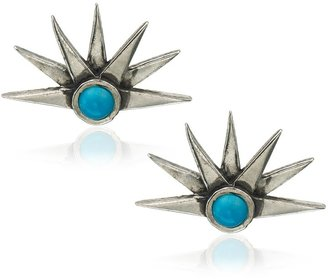 Pamela Love Silver Turquoise Sunburst Earrings