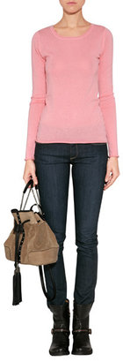 Dear Cashmere Poppy Rose Cotton-Cashmere Scoop Neck Pullover