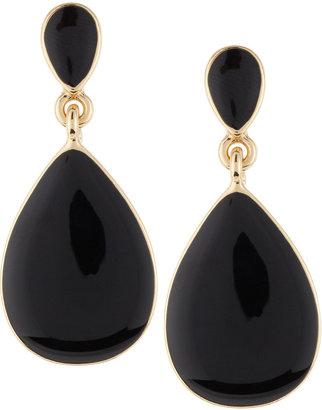 Kenneth Jay Lane Enamel Teardrop Earrings, Black