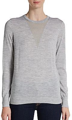 Theory Sheer Fine Knit-Paneled Wool Sweater