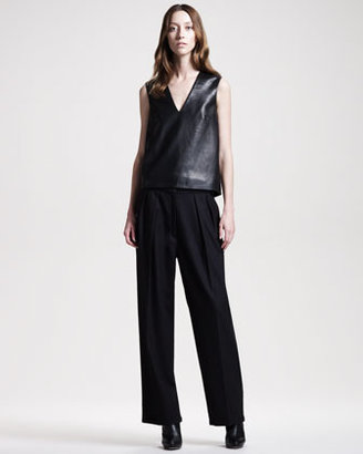 The Row Wide-Leg Flannel Pants