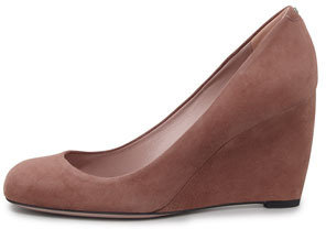 Gucci Suede Wedge Pump, Mauve