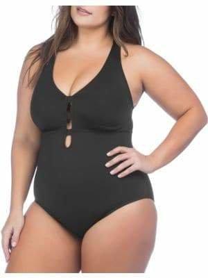 Lauren Ralph Lauren Plus One-Piece Plunge Swimsuit