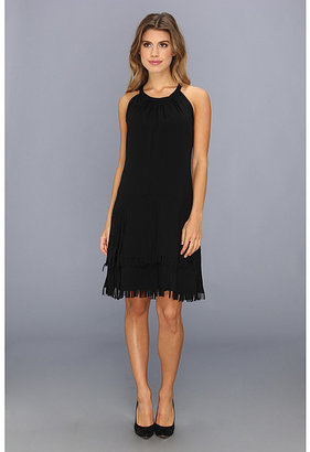 Vince Camuto Fringe Skirt Halter Dress