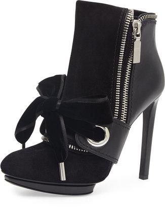 Alexander McQueen Suede & Leather Bow Bootie, Black
