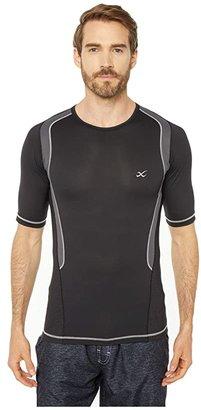 CW-X S/S Ventilator Web Top (Black/Charcoal/Silver Stitch) Men's Short Sleeve Pullover