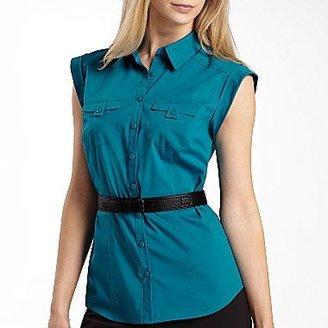 JCPenney Worthington® Sleeveless Safari Belted Shirt