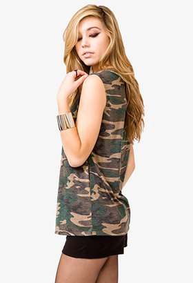 Forever 21 Studded Camo Muscle Tee