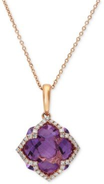 Effy Lavender Rose by Amethyst (5-3/4 ct. t.w.) and Diamond (1/5 ct. t.w.) Clover Pendant in 14k Rose Gold