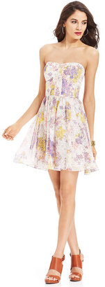 GUESS Strapless Floral-Print Zipper Dress