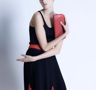 Ragazze Ornamentali Red Leather Envelope Clutch Bag