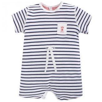 Petit Bateau White & Navy Stripe Shortall