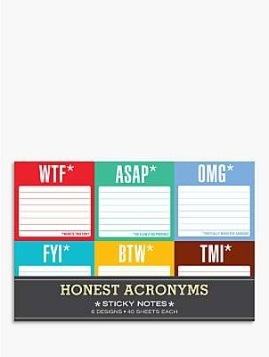 Knock Knock Honest Acronyms Sticky Notes, Pack of 6