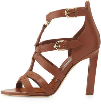 Brian Atwood Strappy Leather Sandal, Brown