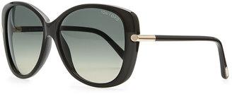 Tom Ford Linda Acetate Butterfly Sunglasses, Black