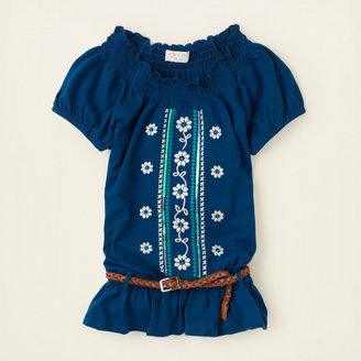 Children's Place Belted embroidered peasant top
