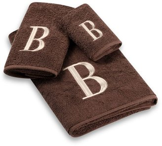 Avanti Premier Ivory Block Monogram Bath Towel Collection in Mocha