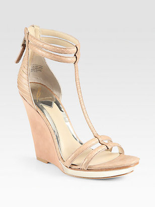 Brian Atwood Pinkston Snake-Embossed Leather & Suede Wedge Sandals