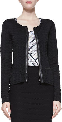 Nanette Lepore Wild Card Leather-Trim Cardigan