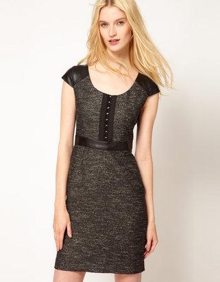 Kookai Tweed Dress With Leather Details