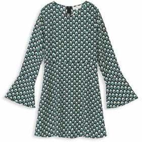 Mini Molly Girl's Bell-Sleeve Geo Printed Dress