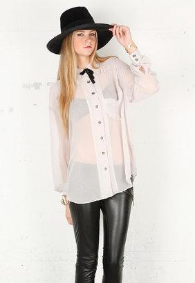 One Teaspoon The Austin Shirt in Creamy Grey -