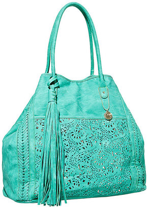Big Buddha Faux Leather Tote with Laser-Cut Detailing