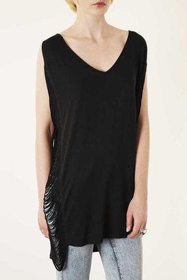 Topshop Black Fringed Vest Cover Up