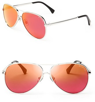 WILDFOX Airfox II Deluxe Mirrored Aviator Sunglasses, 57mm $199 thestylecure.com