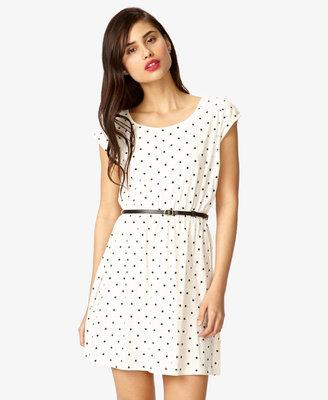 Forever 21 Polka Dot Dress w/ Skinny Belt