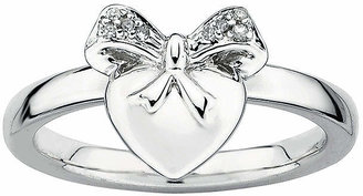 FINE JEWELRY Personally Stackable Diamond-Accent Sterling Silver Heart Charm Ring