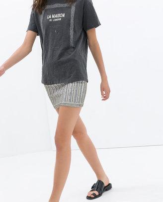 Zara Embroidered Mini Skirt With Beads