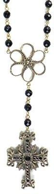 Kitson Kardashian Collection - Kardashian Black Stones Rosary Necklace