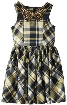 Bonnie Jean Big Girls' Plaid Fit and Flair with Embellished Collar
