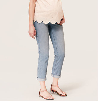 LOFT Maternity Straight Cuffed Cropped Jeans in Offshore Blue Wash