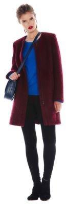 DKNY Collarless Boucle Coat